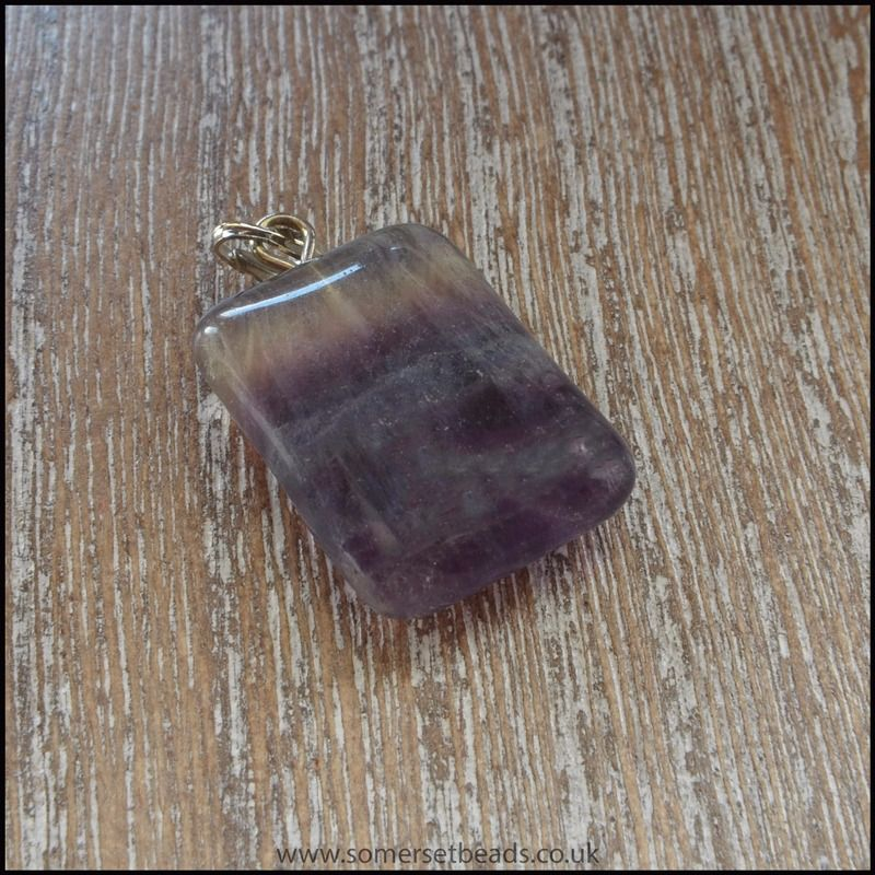 Fluorite Semi Precious Gemstone Rectangle  Pendant