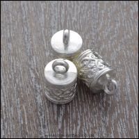 <!-- 091 -->Tibetan Silver Style Patterned Cord Ends