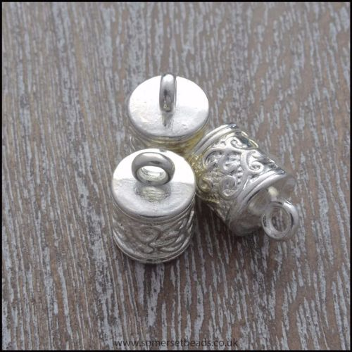 Tibetan Silver Style Patterned Cord Ends