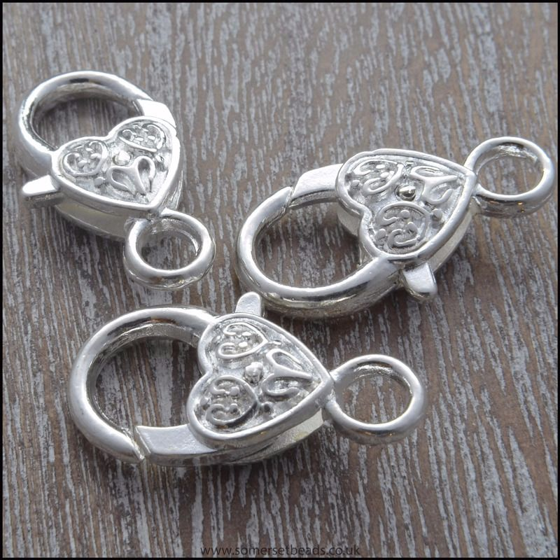 Large Silver Heart Patterned Trigger/ Lobster Clasps