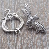 Silver Dragonfly Toggle Clasps