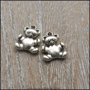 Silver Tone Cute Teddy Bear Charm
