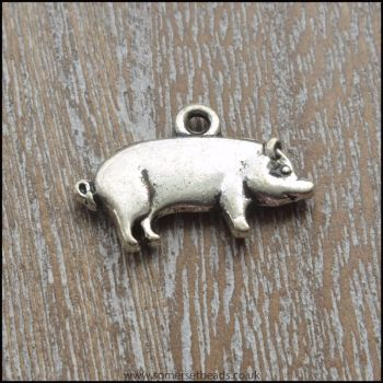 Silver Tone Pig Charms