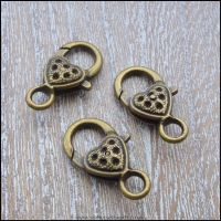 Large Bronze Heart Patterned Trigger/ Lobster Clasps