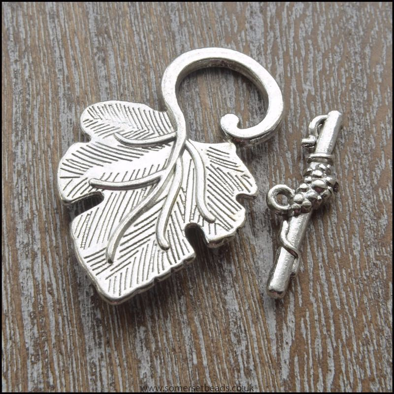 Silver Vine Leaf Toggle Clasps