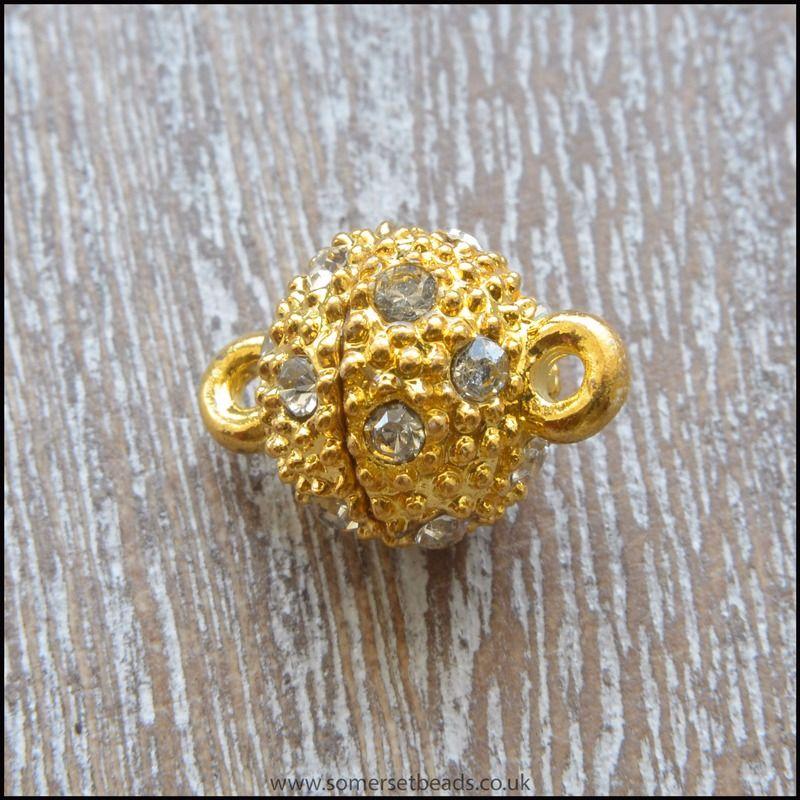 Rhinestone Magnetic Clasp - Gold