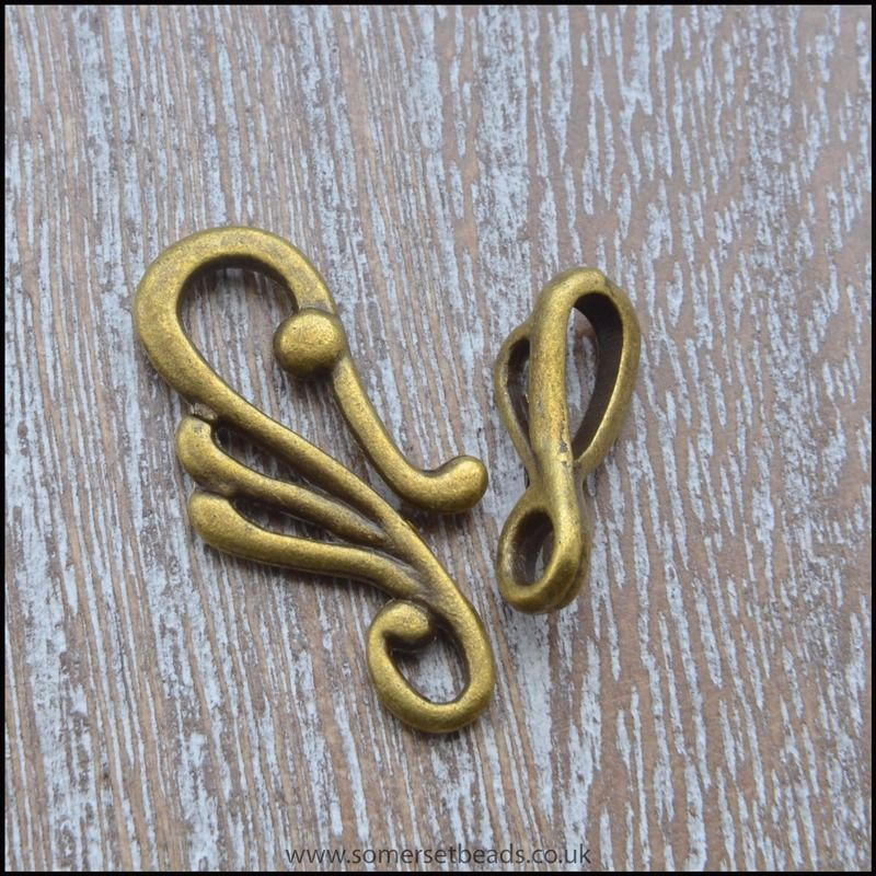 Antique Bronze Scroll Hook and Eye Clasp