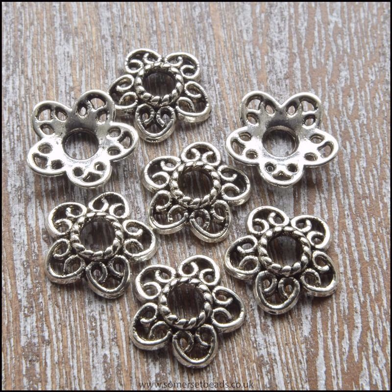 Antique Silver Tibetan Style Flower Bead Caps 12mm