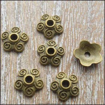 10mm Bronze Tibetan Style Flower Bead Caps