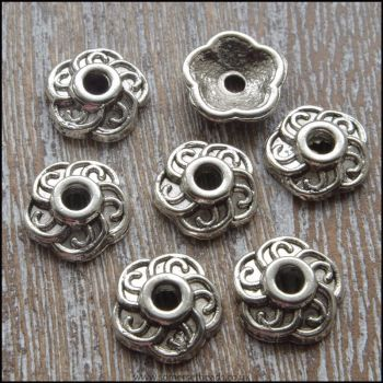 Tibetan Style Antique Silver 10mm Bead Caps