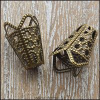 <!-- 057 -->Bronze Tone Filigree Bead Cone