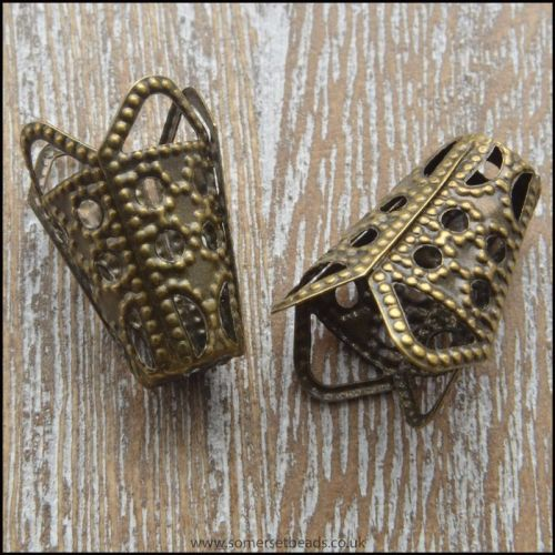 Bronze tone Filigree Bead Cone