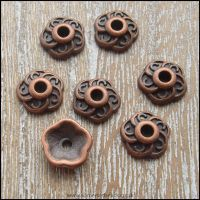 9mm Tibetan Style Copper Flower Bead Caps