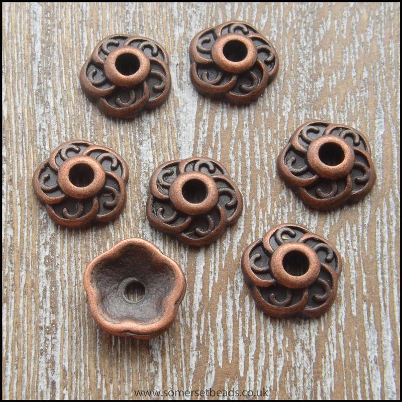 9mm Tibetan Style Copper Flower Bead Caps