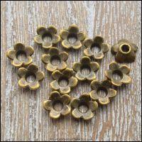 6.5mm Bronze Flower Bead Caps
