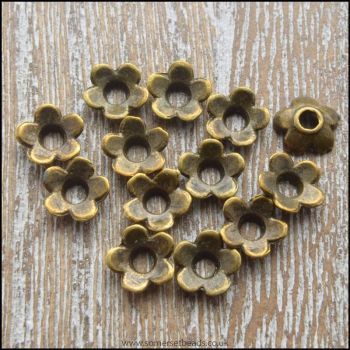 6.5mm Bronze Flower Bead Caps