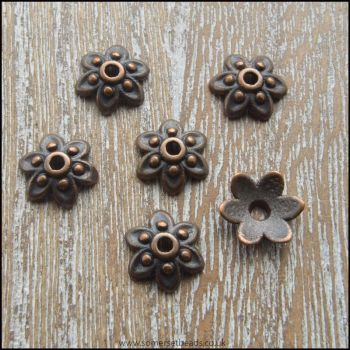 9mm Copper 6 Petal Flower Bead Caps