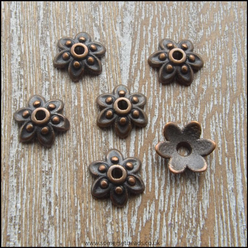 9mm Copper 6 Petal Flower Bead Caps