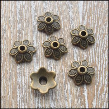 Tibetan Style Antique Bronze Flower Bead Cap 10.5mm