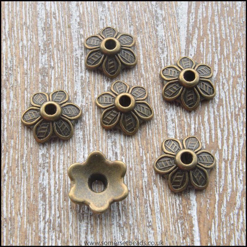 Tibetan Style Antique Bronze Flower Bead Cap 10.5mm