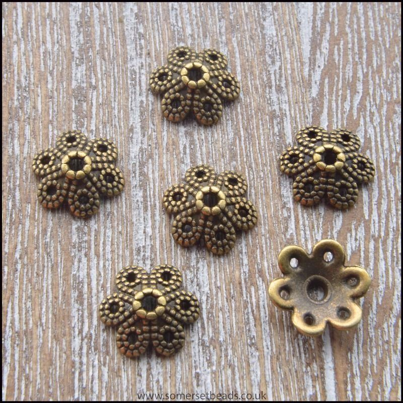 Bronze Tibetan Style Flower Bead Caps 10mm