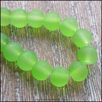 Lime Green Frosted Glass Beads 6mm