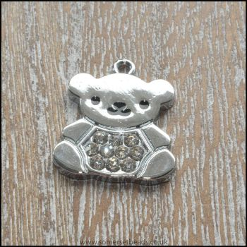 Silver Plated Rhinestone Teddy Bear Charm