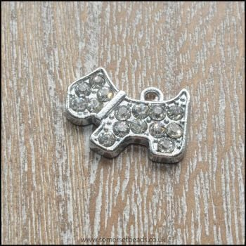 Silver Rhinestone Dog Charms