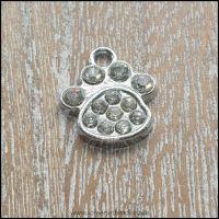Silver Rhinestone Animal Paw Charm