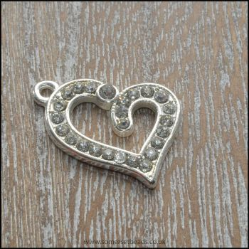 Silver Tone Rhinestone Heart Pendant