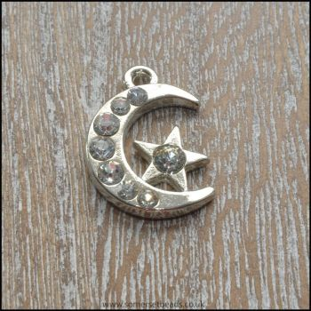Silver Rhinestone Moon and Star Charm