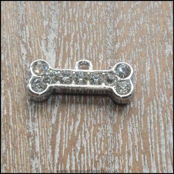 Silver Rhinestone Dog Bone Charm