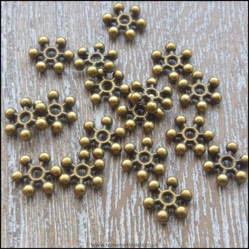 Bronze 8mm Snowflake Spacer Beads
