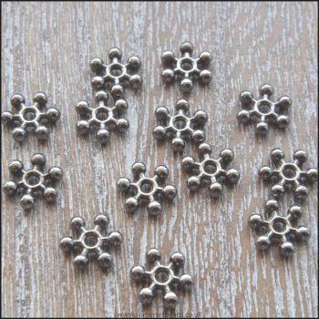 8mm Black Snowflake Spacer Beads