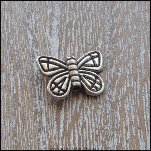 Antique Silver Tone Butterfly Beads