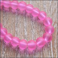 6mm Pink Frosted Glass Beads