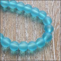 <!-- 060 -->Dark Sky Blue Frosted Glass Beads 6mm