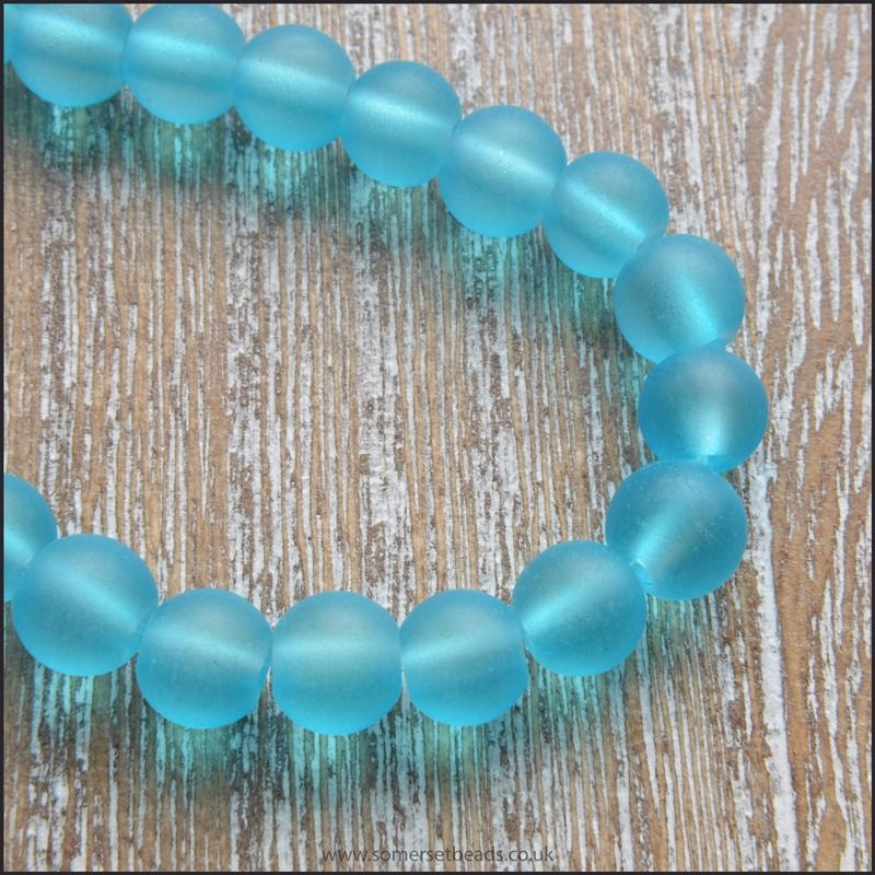 Dark Sky Blue Frosted Glass Beads 6mm