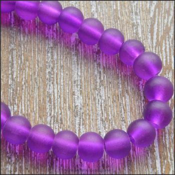 6mm purple Frosted Glass Beads