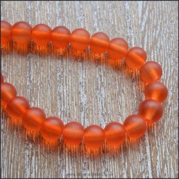 6mm Orange frosted Glass Beads
