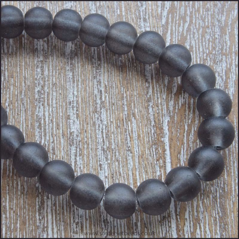 6mm Grey Frosted Glass Beads