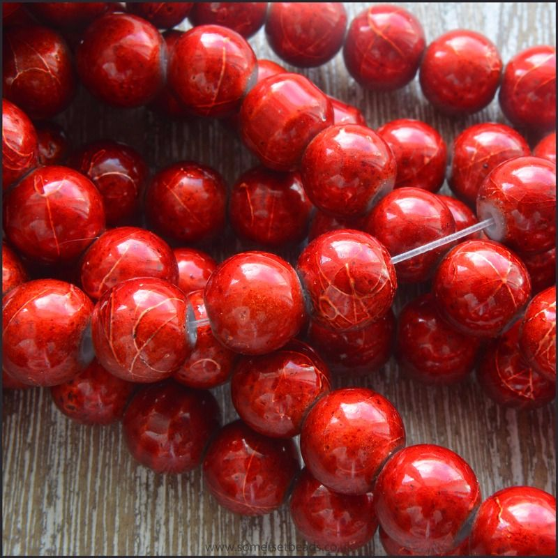 8mm Red Drawbench Glass beads