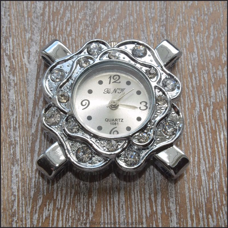 Silver Rhinestone 4 Hole Flower Shaped Watch Face For Jewellery Making