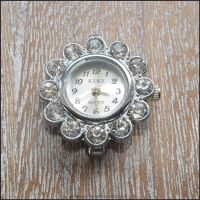 Round Rhinestone Silver Watch Face For Jewellery Making - Style 1