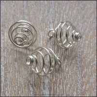 <!-- 003 -->10mm Silver Plated Spiral Bead Cages