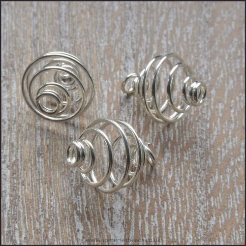 10mm Silver Plated Spiral Bead Cages