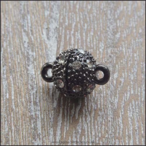 Gunmetal Rhinestone Magnetic Clasps