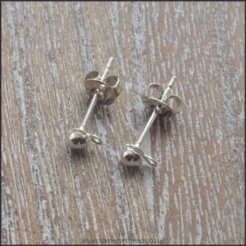 Silver Ball Earring Post Sets