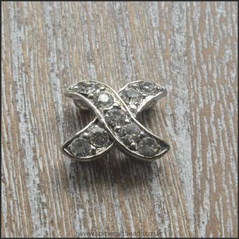 X Shaped Silver Rhinestone Divider