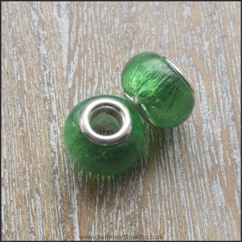 Green Foil Glass European Style Charm Bead